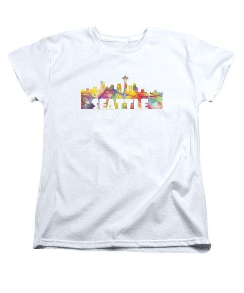 Seattle Washington Skyline Women's T-Shirt (Standard Cut) by Marlene Watson