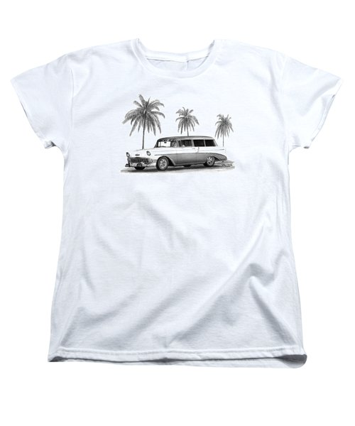 56 Chevy Wagon Women's T-Shirt (Standard Cut) by Peter Piatt