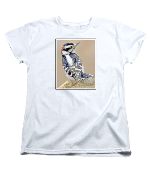 Women's T-Shirt (Standard Cut) featuring the photograph Downy Woodpecker Male On Tree Limb by A Gurmankin