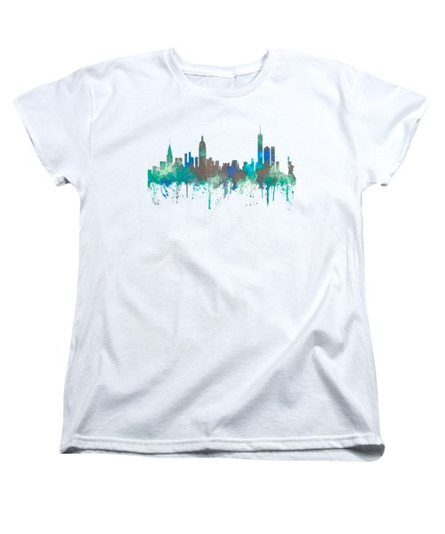 Women's T-Shirt (Standard Cut) featuring the digital art New York Ny Skyline by Marlene Watson