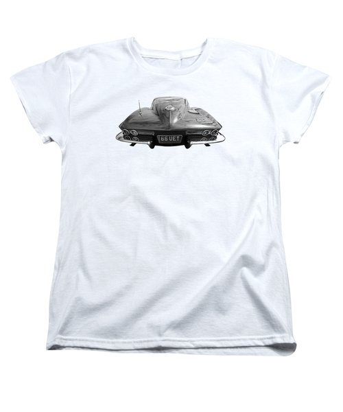 Women's T-Shirt (Standard Cut) featuring the photograph 66 Corvette Rear Black And White by Gill Billington