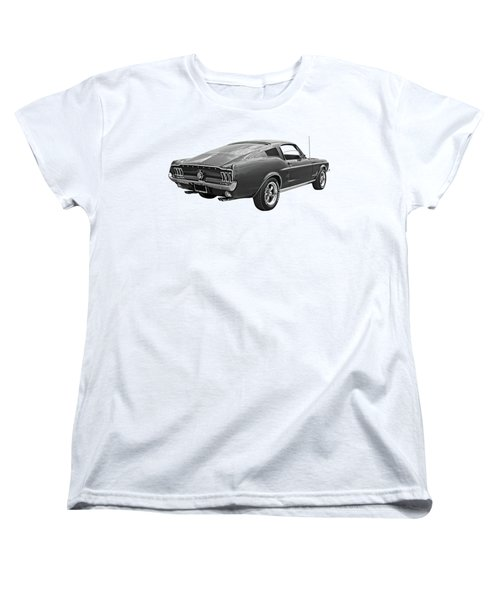 67 Fastback Mustang In Black And White Women's T-Shirt (Standard Cut)