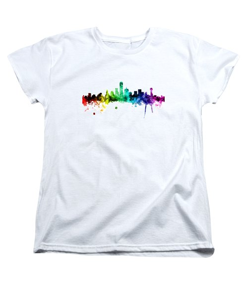 Dallas Texas Skyline Women's T-Shirt (Standard Cut) by Michael Tompsett