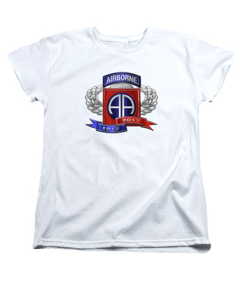 Women's T-Shirt (Standard Cut) featuring the digital art 82nd Airborne Division 100th Anniversary Insignia Over White Leather by Serge Averbukh