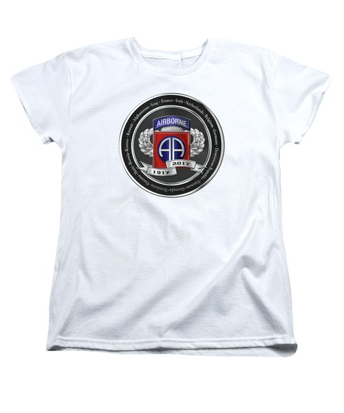 Women's T-Shirt (Standard Cut) featuring the digital art 82nd Airborne Division 100th Anniversary Medallion Over White Leather by Serge Averbukh