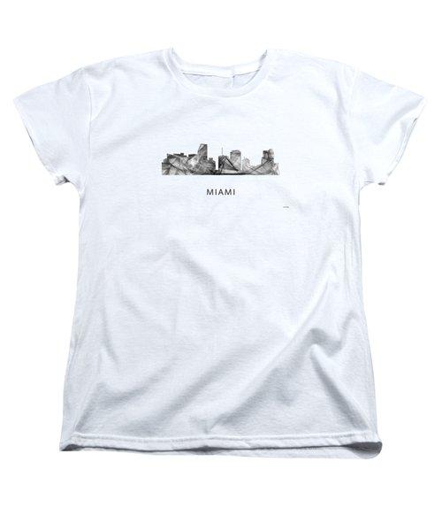 Miami Florida Skyline Women's T-Shirt (Standard Cut) by Marlene Watson
