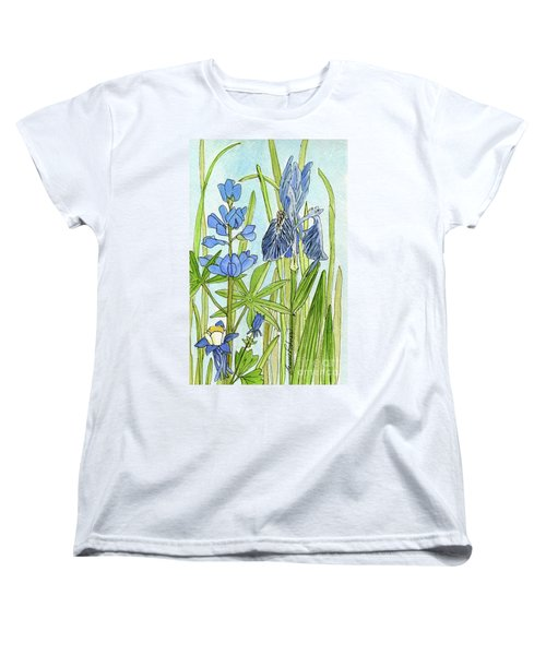 Women's T-Shirt (Standard Cut) featuring the painting A Blue Garden by Laurie Rohner