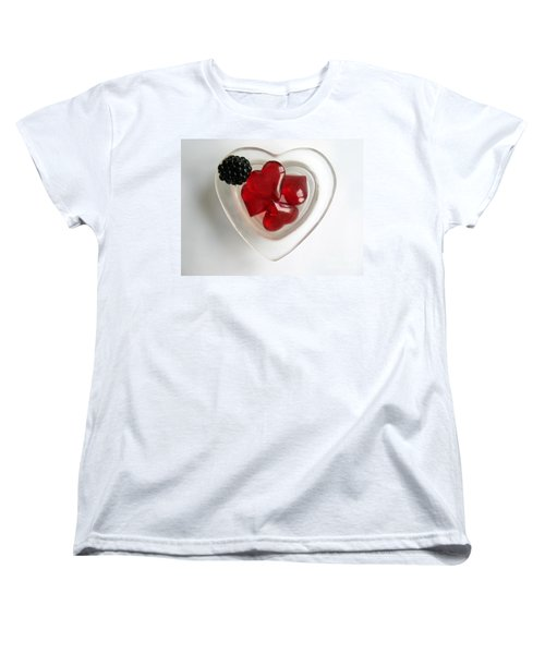 Women's T-Shirt (Standard Cut) featuring the photograph A Bowl Of Hearts And A Blackberry by Ausra Huntington nee Paulauskaite