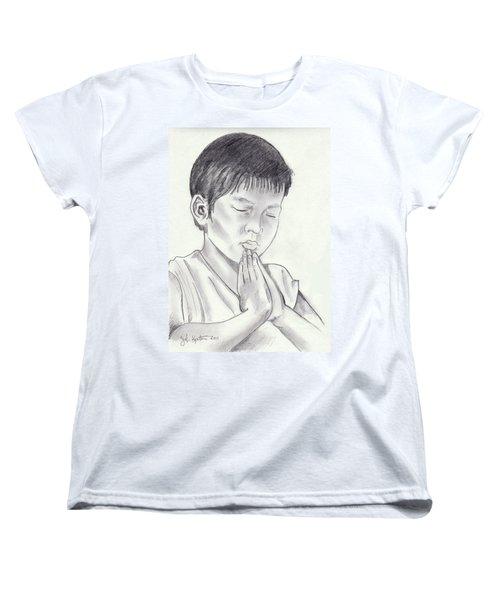 A Child's Prayer Women's T-Shirt (Standard Cut) by John Keaton