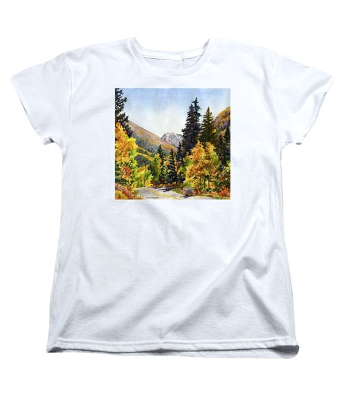 Women's T-Shirt (Standard Cut) featuring the painting A Drive In The Mountains by Anne Gifford