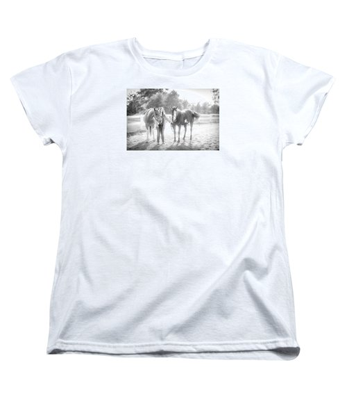 Women's T-Shirt (Standard Cut) featuring the photograph A Girl With Horses by Kelly Hazel