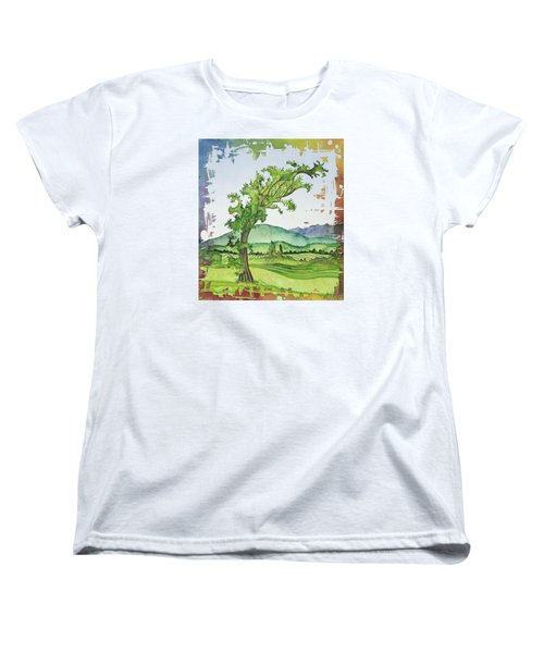 A Kale Leaf Visits The Country Women's T-Shirt (Standard Cut) by Carolyn Doe