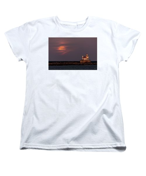 Women's T-Shirt (Standard Cut) featuring the photograph A Moonsetting Sunrise by Everet Regal