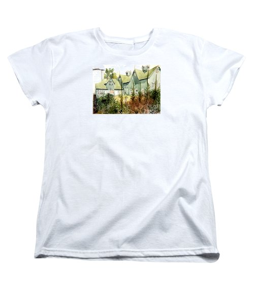 An Old Wooden Barn Painted Green With Silo In The Sun Women's T-Shirt (Standard Cut) by Greta Corens