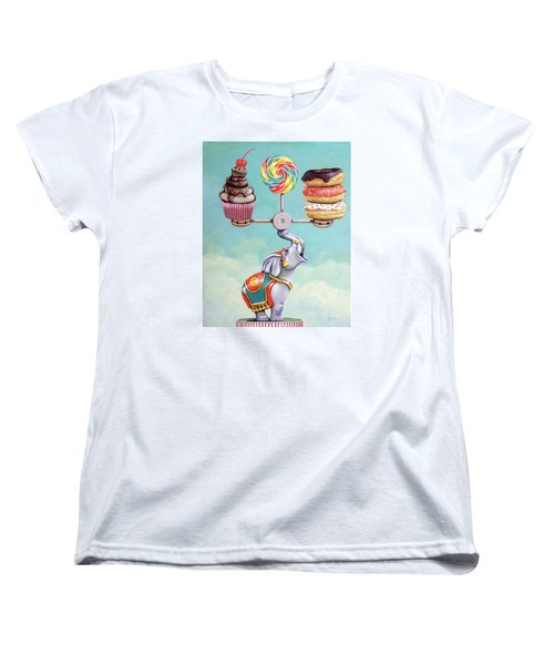 Women's T-Shirt (Standard Cut) featuring the painting A Well-balanced Diet by Linda Apple