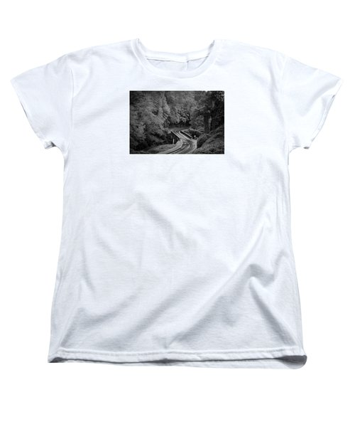 A Wet And Twisty Road Through The Blue Ridge Mountains In Black And White Women's T-Shirt (Standard Cut) by Kelly Hazel