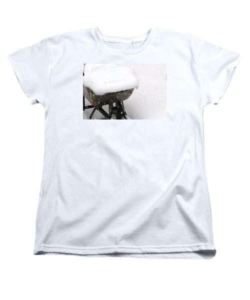 Women's T-Shirt (Standard Cut) featuring the photograph A Wheel Barrel Of Snow by Paul SEQUENCE Ferguson             sequence dot net