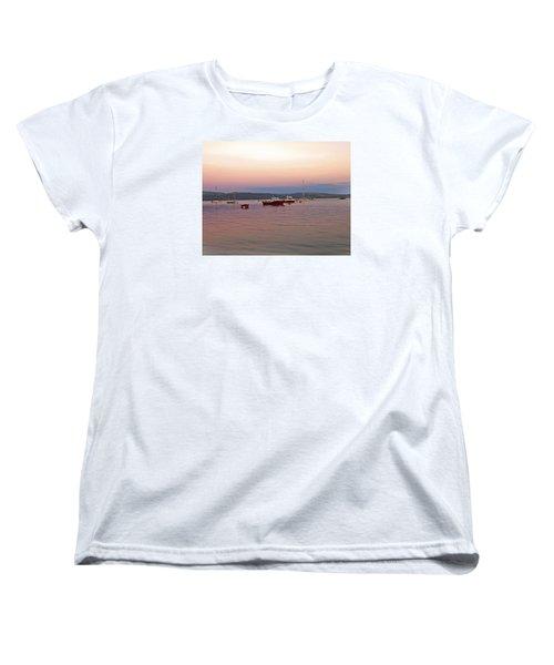 Women's T-Shirt (Standard Cut) featuring the photograph Aberdovey Moorings. by Paul Scoullar