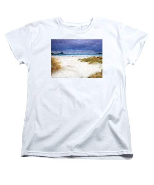 Women's T-Shirt (Standard Cut) featuring the digital art Abstract Beach Horizon by Anthony Fishburne