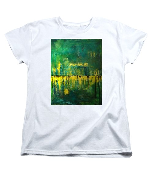Abstract In Yellow And Green Women's T-Shirt (Standard Cut) by Jocelyn Friis