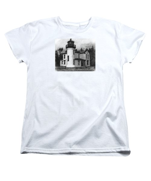 Women's T-Shirt (Standard Cut) featuring the digital art Admiralty Head Lighthouse Sketched by Kirt Tisdale