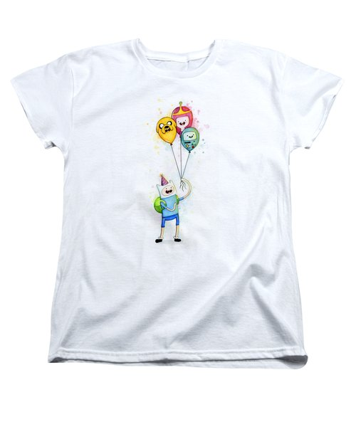 Adventure Time Finn With Birthday Balloons Jake Princess Bubblegum Bmo Women's T-Shirt (Standard Cut) by Olga Shvartsur