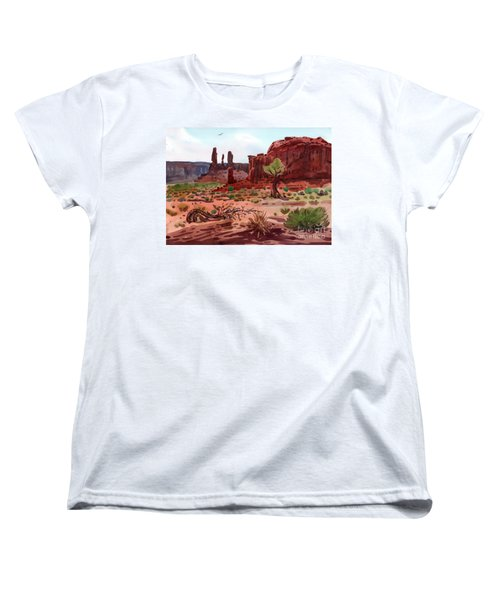 Afternoon In Monument Valley Women's T-Shirt (Standard Cut) by Donald Maier