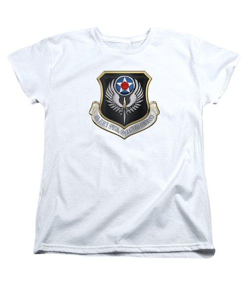 Air Force Special Operations Command -  A F S O C  Shield Over White Leather Women's T-Shirt (Standard Cut) by Serge Averbukh
