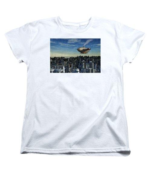 Airship Over Future City Women's T-Shirt (Standard Cut) by Ken Morris