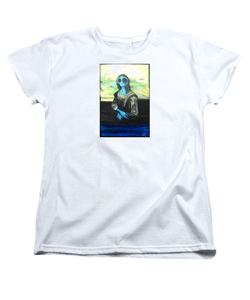 Women's T-Shirt (Standard Cut) featuring the painting alien Mona Lisa by Similar Alien