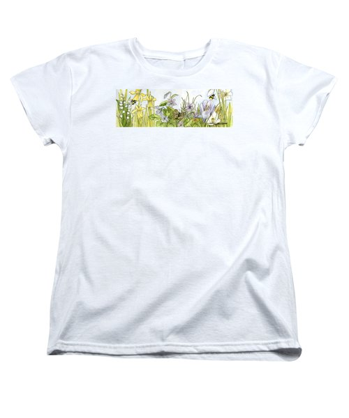Women's T-Shirt (Standard Cut) featuring the painting  Alive In A Spring Garden by Laurie Rohner
