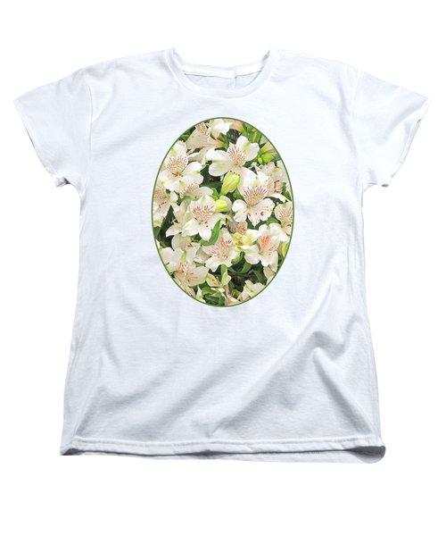 Alluring Alstroemeria - Peruvian Lilies Women's T-Shirt (Standard Cut) by Gill Billington