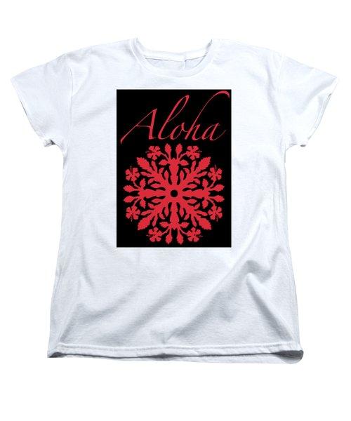 Aloha Red Hibiscus Quilt T-shirt Women's T-Shirt (Standard Cut) by James Temple