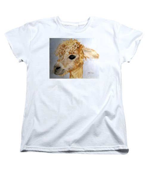 Women's T-Shirt (Standard Cut) featuring the painting Alpaca Cutie by Carol Grimes