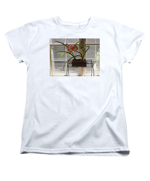Women's T-Shirt (Standard Cut) featuring the photograph Amaryllis And Window by Nancy Kane Chapman