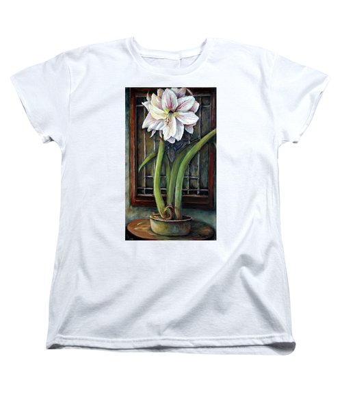 Amaryllis In The Window Women's T-Shirt (Standard Cut) by Bernadette Krupa