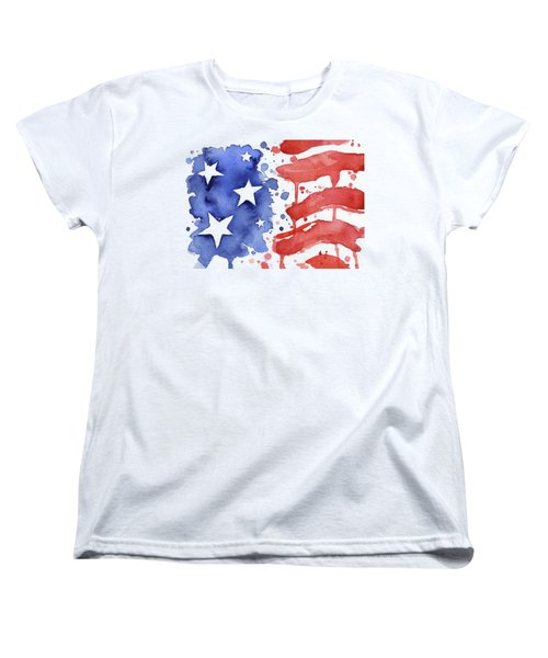 American Flag Watercolor Painting Women's T-Shirt (Standard Fit)