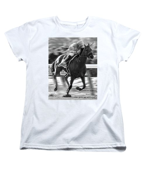 American Pharoah And Victor Espinoza Win The 2015 Belmont Stakes Women's T-Shirt (Standard Cut) by Thomas Pollart