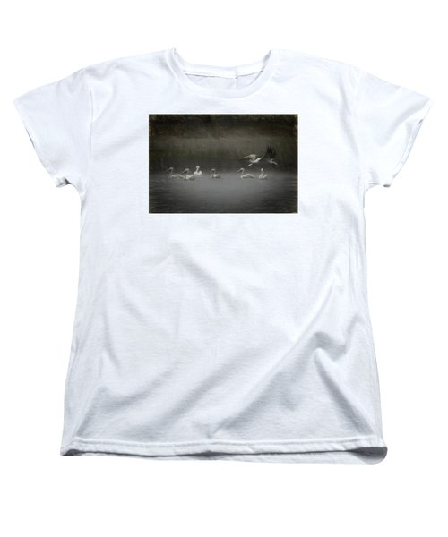 American White Pelicans Da Women's T-Shirt (Standard Cut) by Ernie Echols