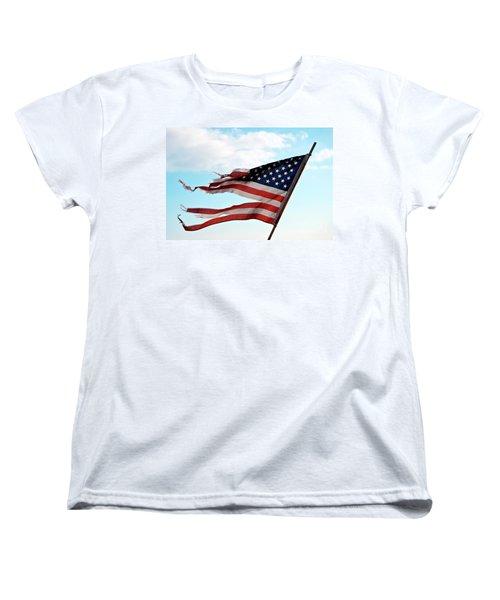 America's Liberty Prevails Women's T-Shirt (Standard Cut) by Loriannah Hespe