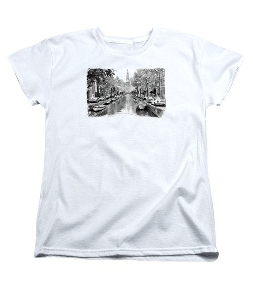 Amsterdam Canal 2 Black And White Women's T-Shirt (Standard Cut) by Marian Voicu