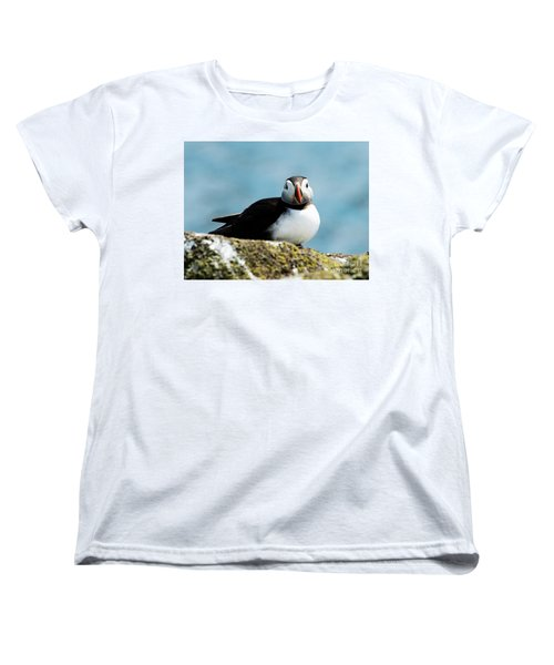 An Atlantic Puffin Women's T-Shirt (Standard Cut) by MaryJane Armstrong