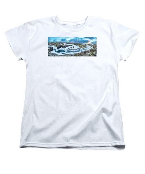 An Icy Waterfall Panorama During Sunrise In Iceland Women's T-Shirt (Standard Cut) by Joe Belanger