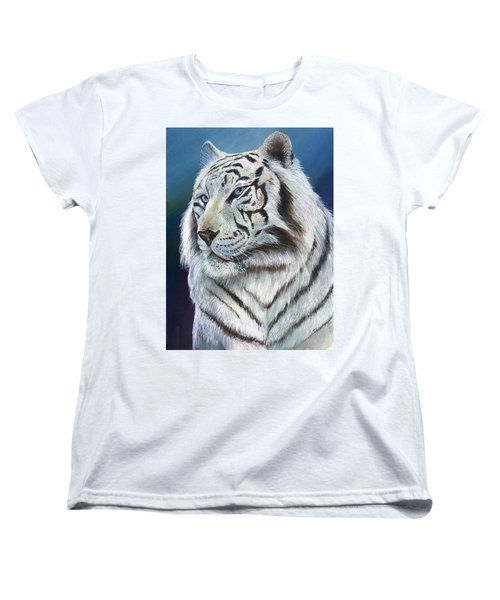 Women's T-Shirt (Standard Cut) featuring the painting Angel The White Tiger by Sherry Shipley