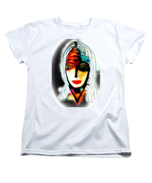 Women's T-Shirt (Standard Cut) featuring the mixed media Angie by Ann Calvo