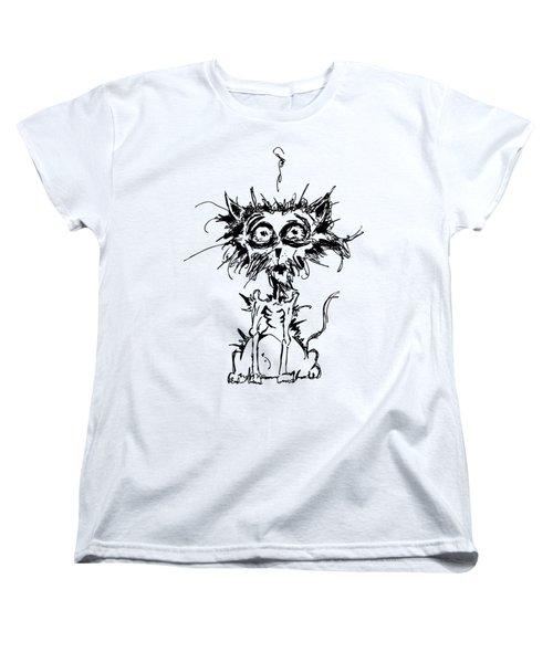 Angst Cat Women's T-Shirt (Standard Cut) by Nicholas Ely