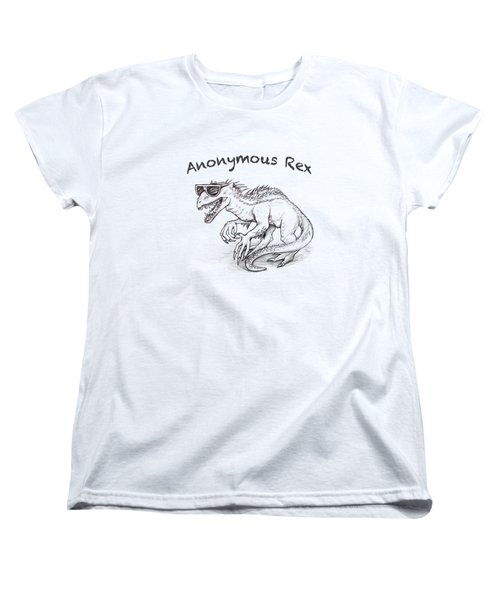 Women's T-Shirt (Standard Cut) featuring the drawing Anonymous Rex T-shirt by Aaron Spong