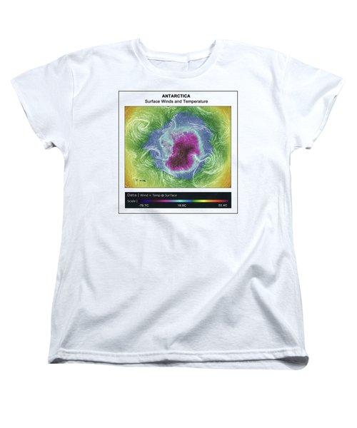 Women's T-Shirt (Standard Cut) featuring the photograph Antartica Surface Winds And Temps by Geraldine Alexander