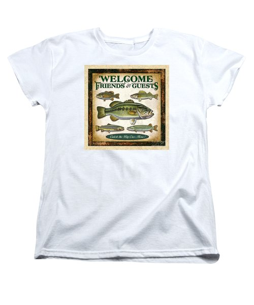 Women's T-Shirt (Standard Cut) featuring the painting Antique Lure Fish Panel Three by JQ Licensing Jon Q Wright