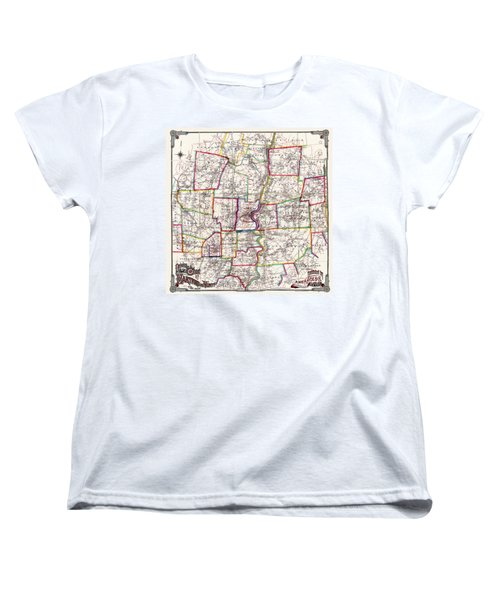 Horse Carriage Era Driving Map Of Hartford Connecticut Vicinity 1884 Women's T-Shirt (Standard Cut) by Phil Cardamone